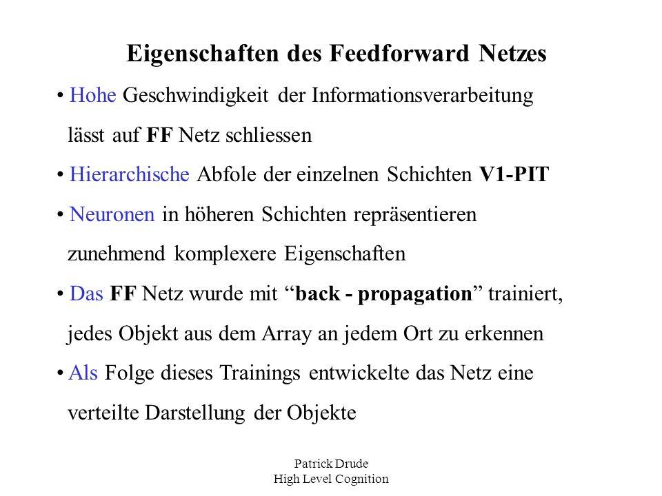 Patrick Drude High Level Cognition Eigenschaften des Feedforward Netzes Hohe Geschwindigkeit der Informationsverarbeitung lässt auf FF Netz schliessen