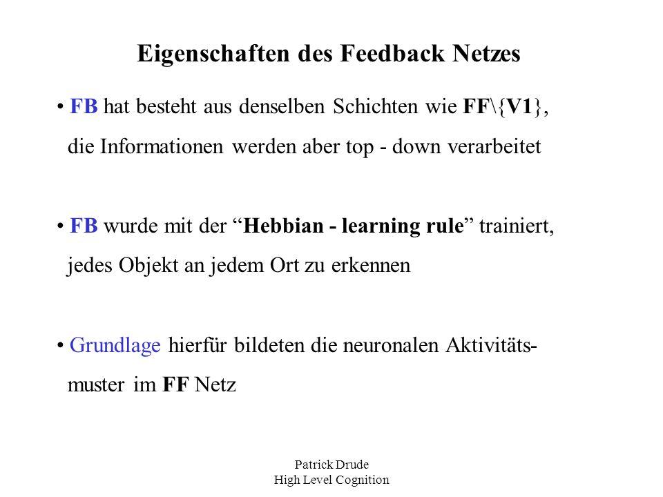Patrick Drude High Level Cognition Eigenschaften des Feedback Netzes FB hat besteht aus denselben Schichten wie FF\{V1}, die Informationen werden aber