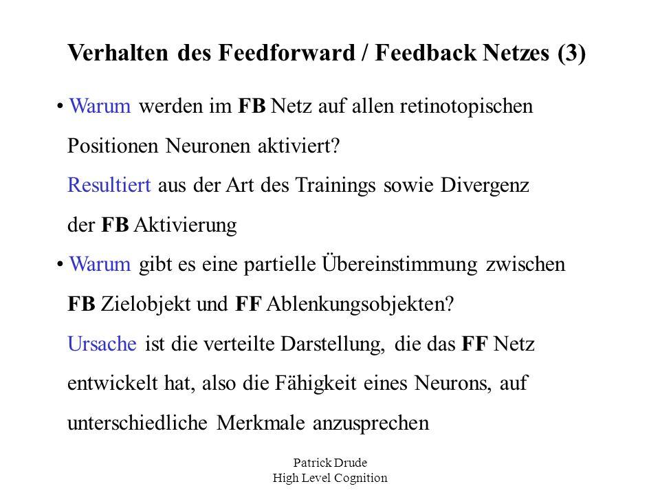 Patrick Drude High Level Cognition Verhalten des Feedforward / Feedback Netzes (3) Warum werden im FB Netz auf allen retinotopischen Positionen Neuron
