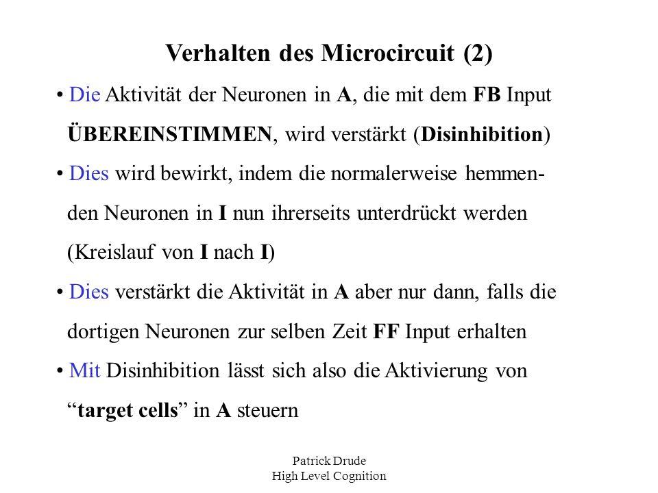 Patrick Drude High Level Cognition Verhalten des Microcircuit (2) Die Aktivität der Neuronen in A, die mit dem FB Input ÜBEREINSTIMMEN, wird verstärkt