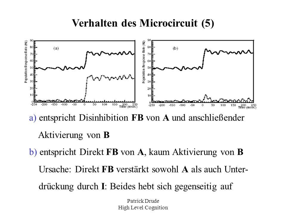 Patrick Drude High Level Cognition Verhalten des Microcircuit (5) a) entspricht Disinhibition FB von A und anschließender Aktivierung von B b) entspri