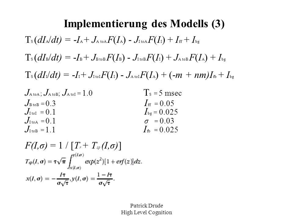 Patrick Drude High Level Cognition Implementierung des Modells (3) Τ S (dI A /dt) = -I A + J A toA F(I A ) - J I toA F(I I ) + I ff + I bg Τ S (dI B /
