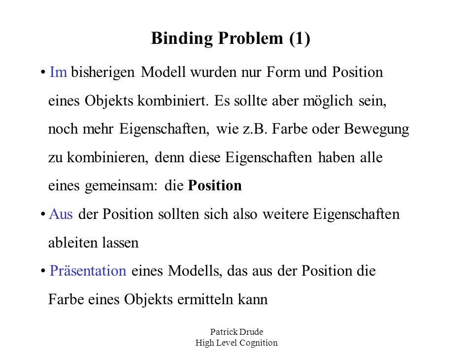 Patrick Drude High Level Cognition Binding Problem (1) Im bisherigen Modell wurden nur Form und Position eines Objekts kombiniert. Es sollte aber mögl
