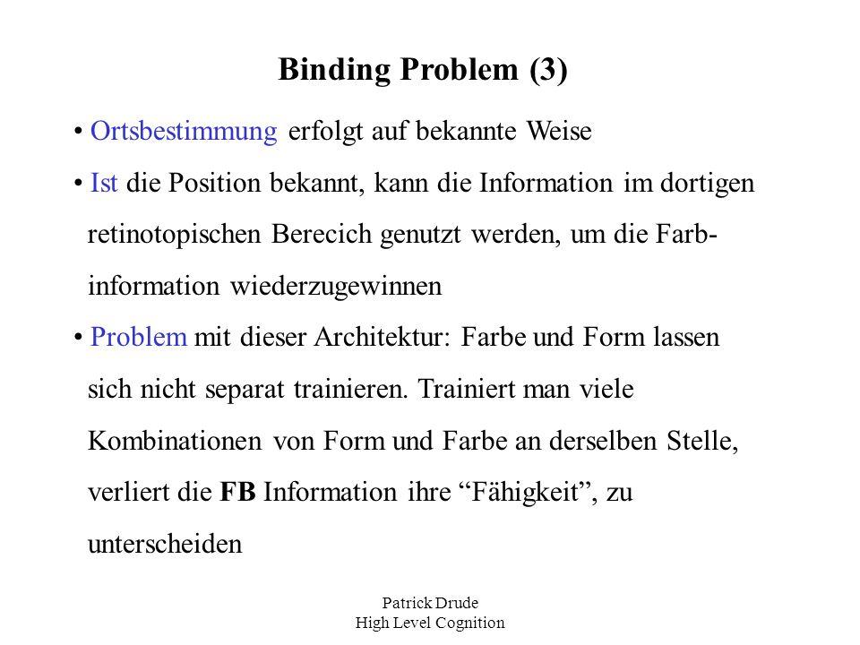 Patrick Drude High Level Cognition Binding Problem (3) Ortsbestimmung erfolgt auf bekannte Weise Ist die Position bekannt, kann die Information im dor