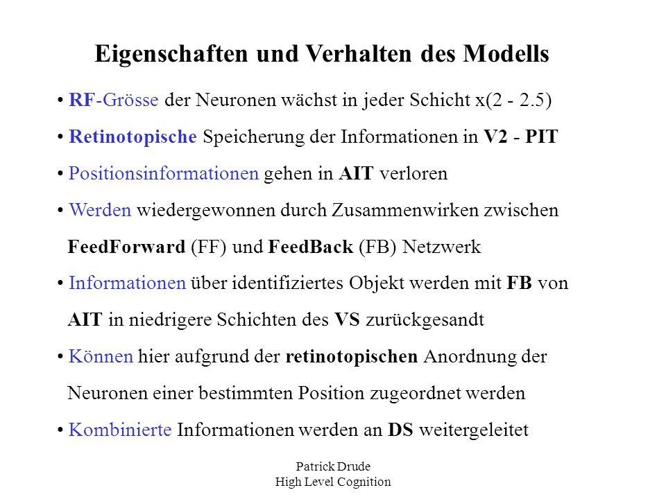 Patrick Drude High Level Cognition Versuchsreihe mit Affen (1) Woher weiss man, daß VS und DS in beschriebener Weise zusammenarbeiten .