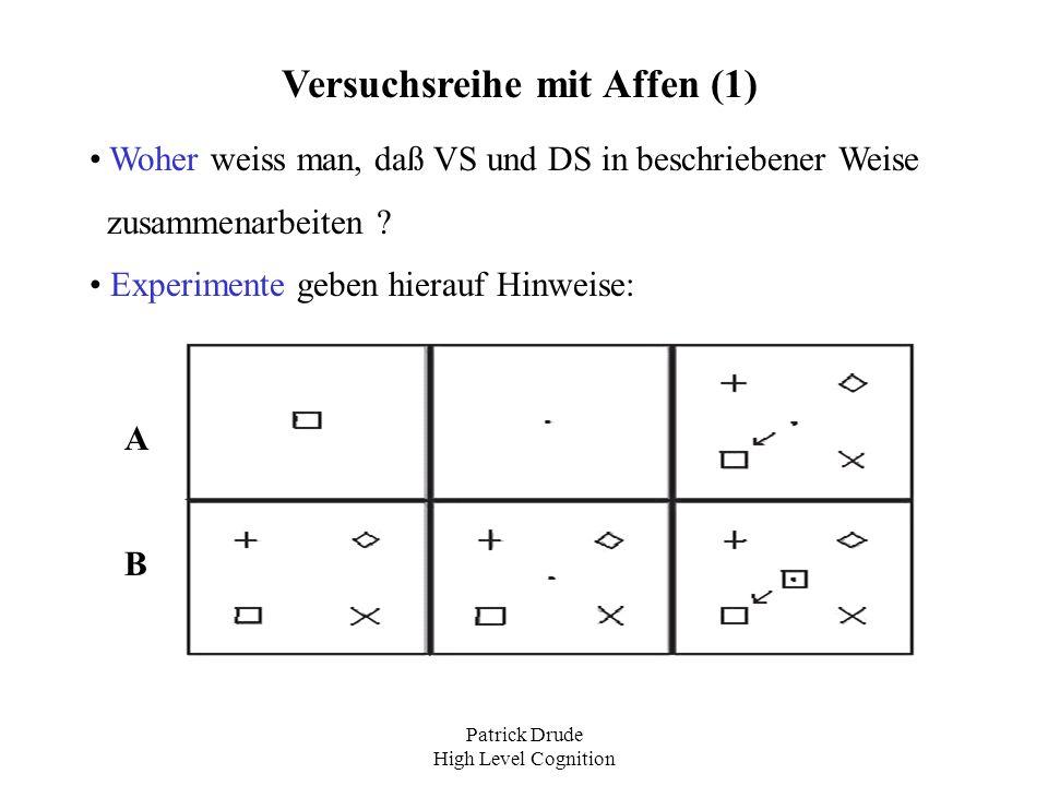 Patrick Drude High Level Cognition Versuchsreihe mit Affen (1) Woher weiss man, daß VS und DS in beschriebener Weise zusammenarbeiten ? Experimente ge