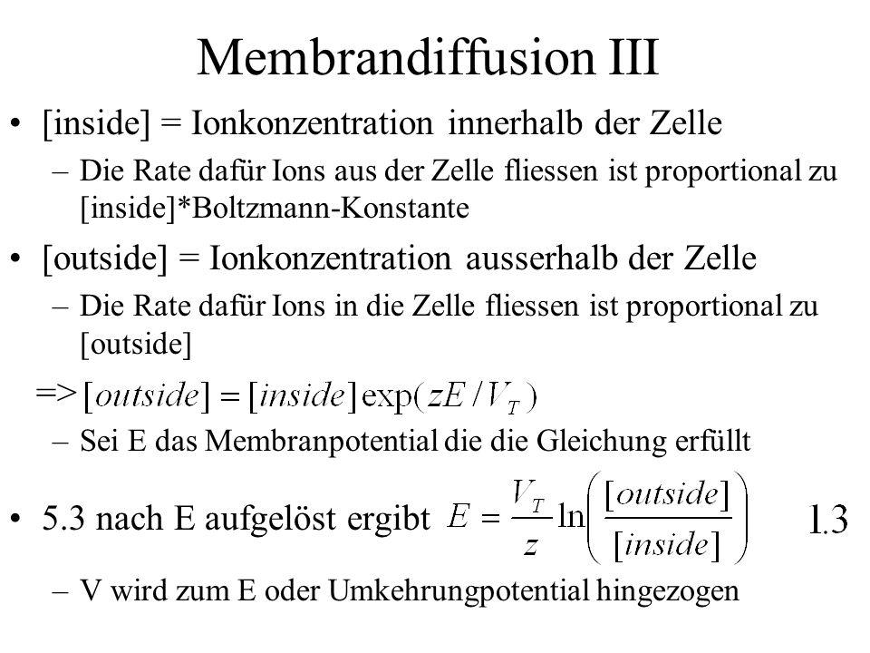 Membrandiffusion III [inside] = Ionkonzentration innerhalb der Zelle –Die Rate dafür Ions aus der Zelle fliessen ist proportional zu [inside]*Boltzman