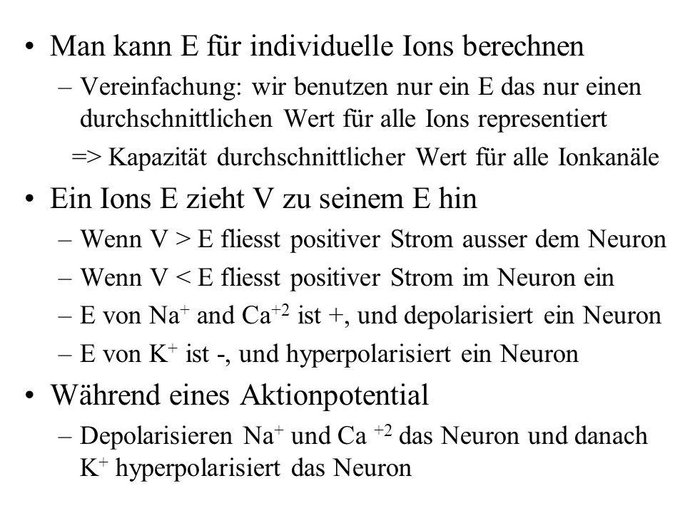 Man kann E für individuelle Ions berechnen –Vereinfachung: wir benutzen nur ein E das nur einen durchschnittlichen Wert für alle Ions representiert =>