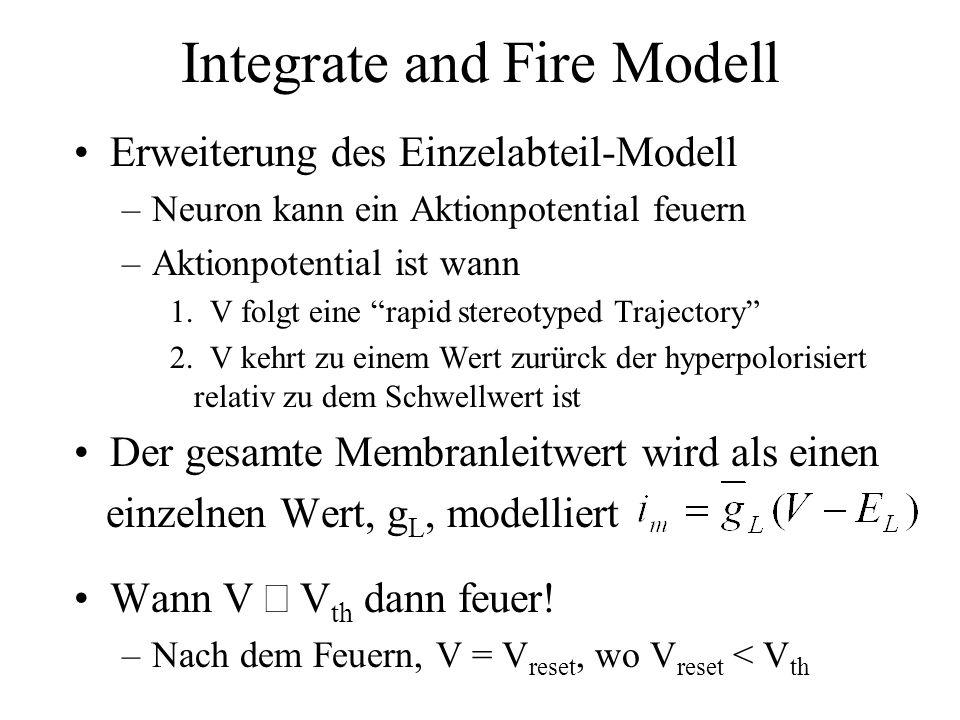 Integrate and Fire Modell Erweiterung des Einzelabteil-Modell –Neuron kann ein Aktionpotential feuern –Aktionpotential ist wann 1. V folgt eine rapid