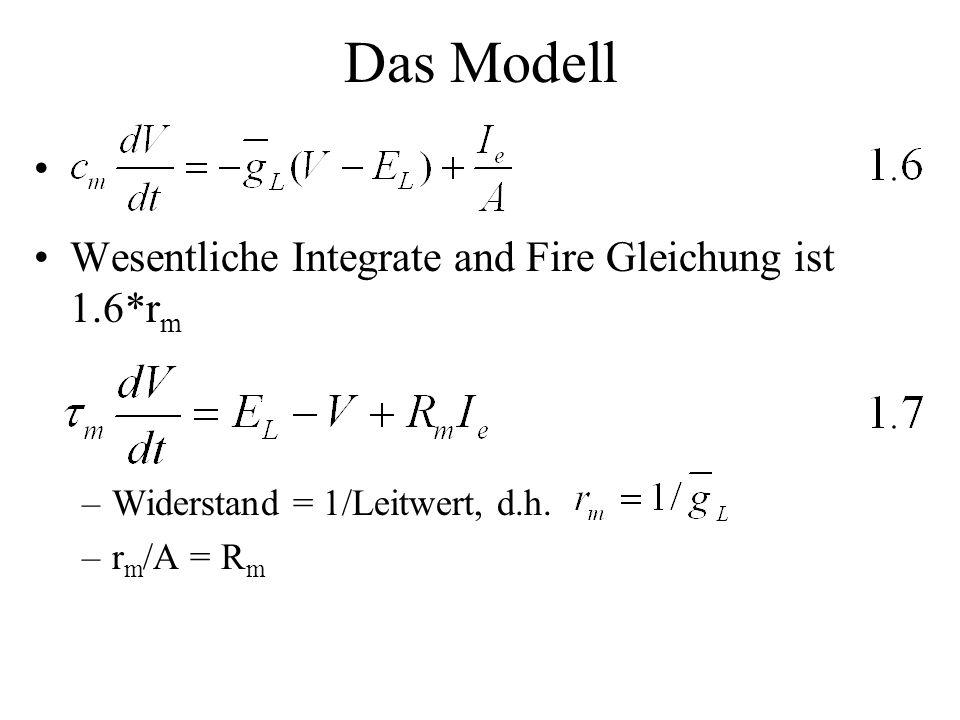 Das Modell Wesentliche Integrate and Fire Gleichung ist 1.6*r m –Widerstand = 1/Leitwert, d.h. –r m /A = R m