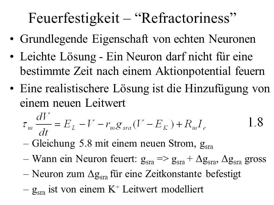 Feuerfestigkeit – Refractoriness Grundlegende Eigenschaft von echten Neuronen Leichte Lösung - Ein Neuron darf nicht für eine bestimmte Zeit nach eine