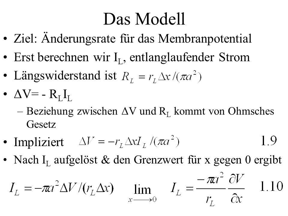 Das Modell Ziel: Änderungsrate für das Membranpotential Erst berechnen wir I L, entlanglaufender Strom Längswiderstand ist ΔV= - R L I L –Beziehung zw