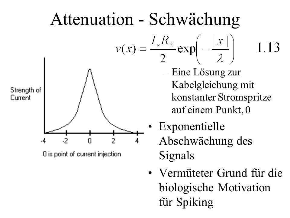 Attenuation - Schwächung –Eine Lösung zur Kabelgleichung mit konstanter Stromspritze auf einem Punkt, 0 Exponentielle Abschwächung des Signals Vermüte