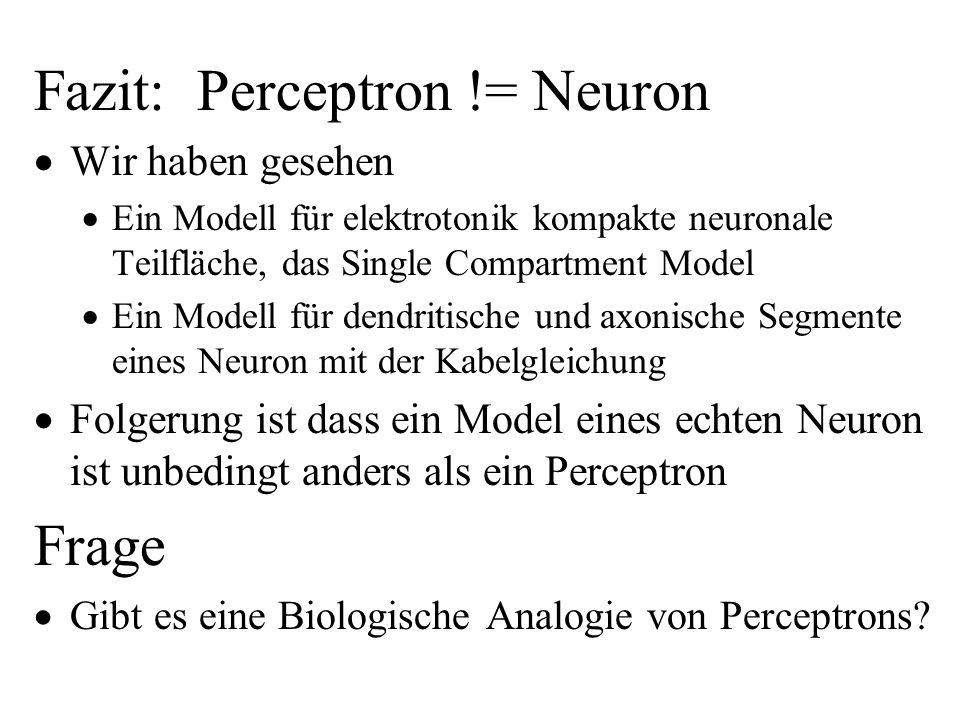Fazit: Perceptron != Neuron Wir haben gesehen Ein Modell für elektrotonik kompakte neuronale Teilfläche, das Single Compartment Model Ein Modell für d