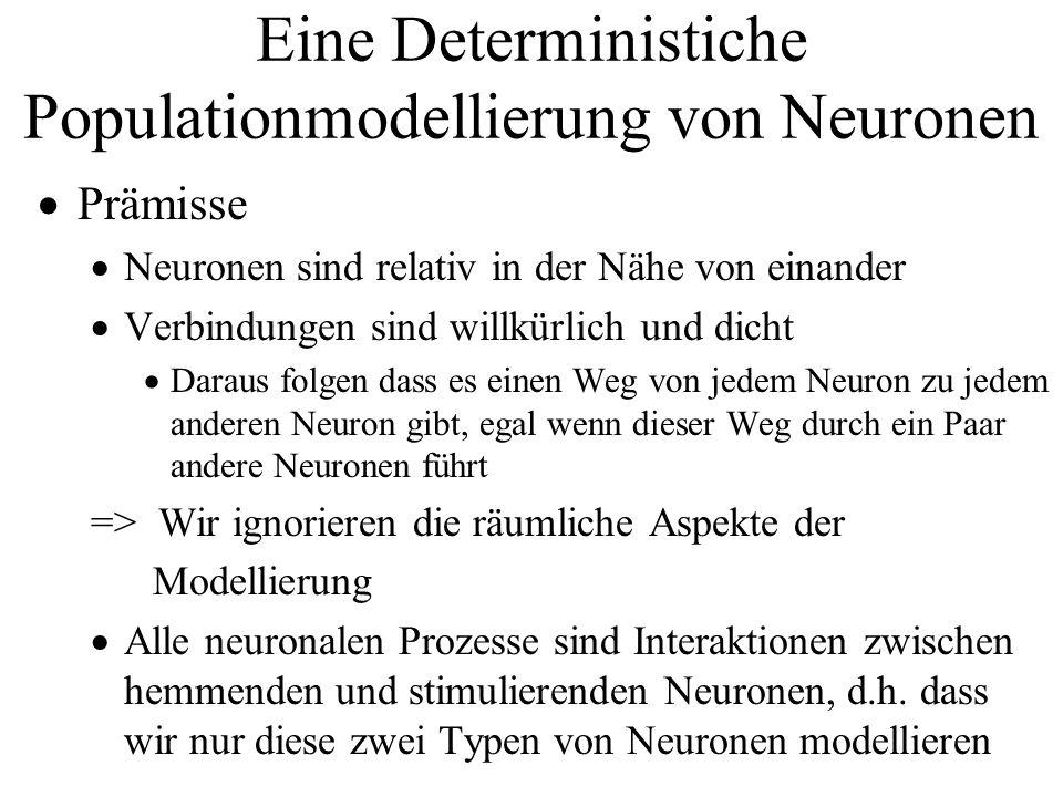 Eine Deterministiche Populationmodellierung von Neuronen Prämisse Neuronen sind relativ in der Nähe von einander Verbindungen sind willkürlich und dic