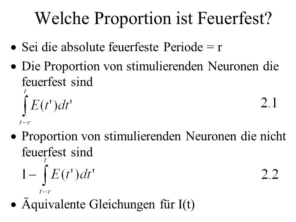 Welche Proportion ist Feuerfest? Sei die absolute feuerfeste Periode = r Die Proportion von stimulierenden Neuronen die feuerfest sind Proportion von