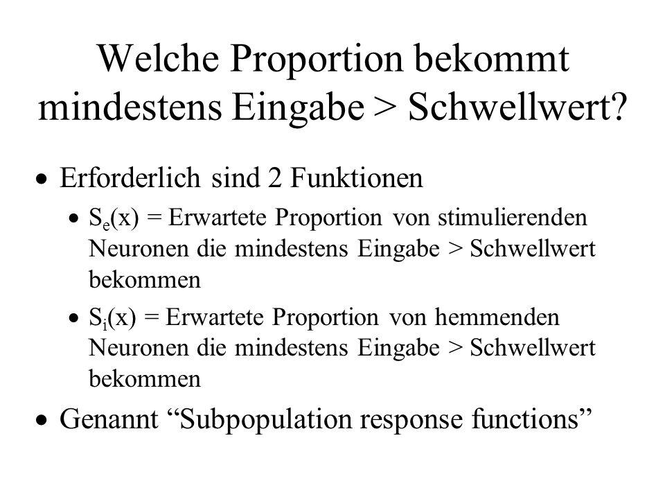 Welche Proportion bekommt mindestens Eingabe > Schwellwert? Erforderlich sind 2 Funktionen S e (x) = Erwartete Proportion von stimulierenden Neuronen