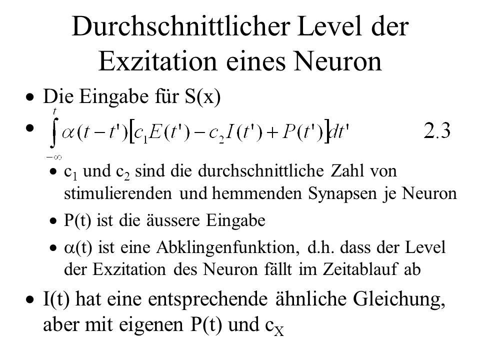 Durchschnittlicher Level der Exzitation eines Neuron Die Eingabe für S(x) c 1 und c 2 sind die durchschnittliche Zahl von stimulierenden und hemmenden