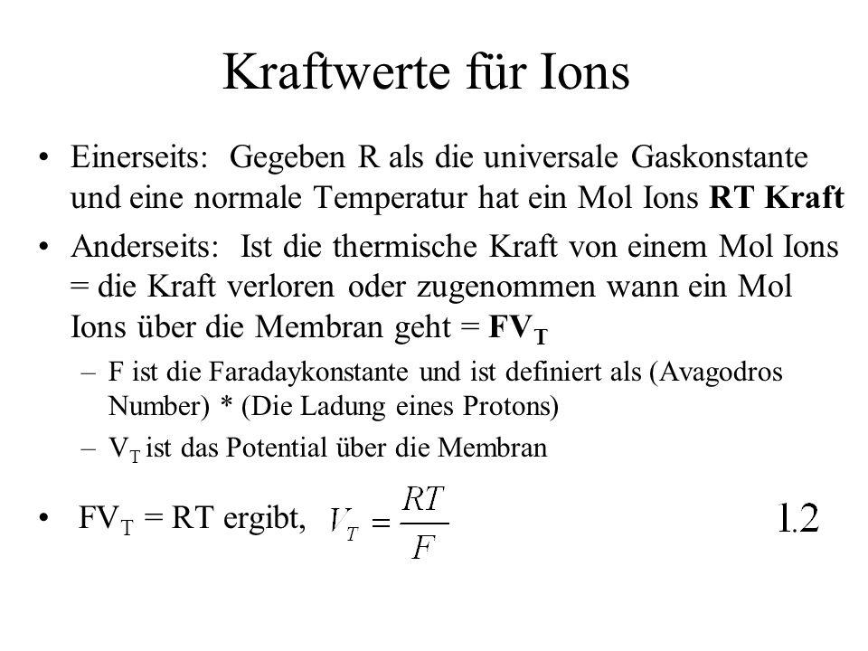 Membrandiffusion II Wahrscheinlichkeit dass ein Ion innerhalb der Zelle die Kraft hat um die Kraftbarriere zu überschreiten –Gegeben dass eine positive Ion die Ladung, zq, hat und dass V negativ ist q ist die Ladung eines Protons und z ist variabel => dass ein Ion die thermische Energie von -zqV haben muss um die Membran zu überschreiten => dass die Wahrscheinlichkeit dass ein Ion diese Kraft hat wenn die Temperatur T ist, = exp(zqV/k B T) k B ist die Boltzmann Konstante –Diese Wahrscheinlichkeit ist in Molgewicht exp(zFV/RT) = exp(zV/V T )
