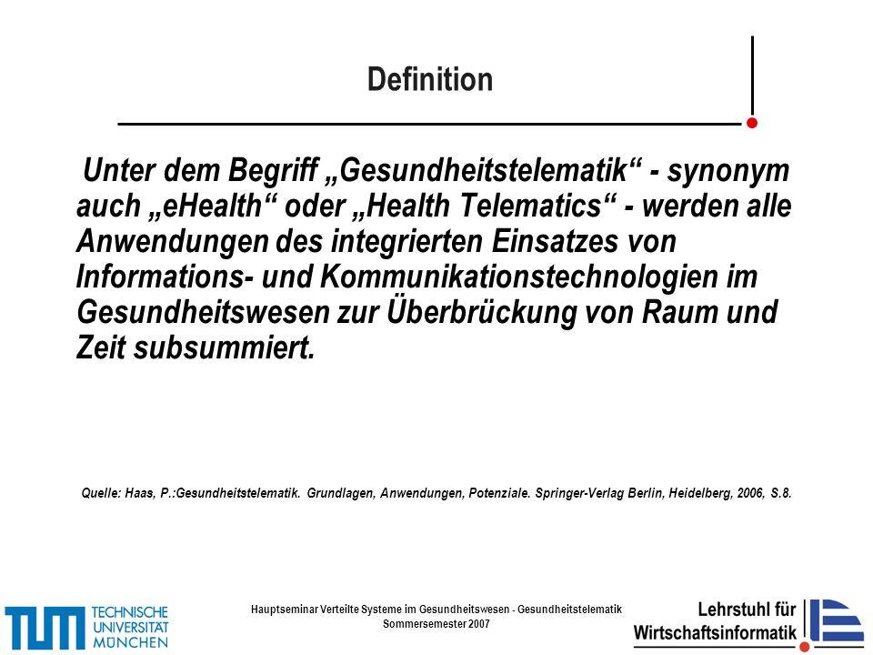 Hauptseminar Verteilte Systeme im Gesundheitswesen - Gesundheitstelematik Sommersemester 2007 Vielen Dank......für die Aufmerksamkeit.