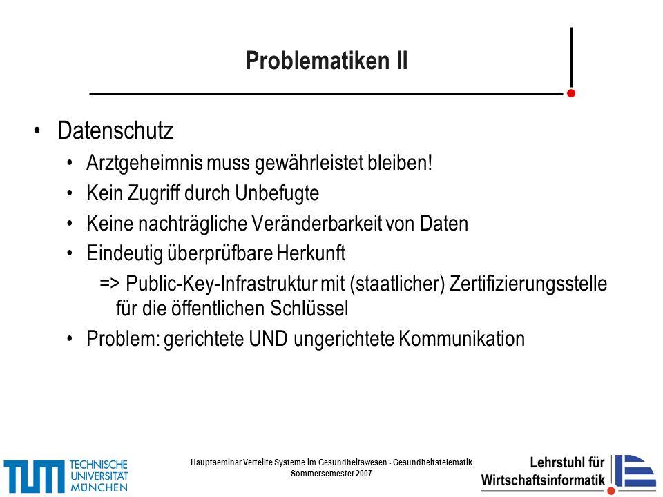 Hauptseminar Verteilte Systeme im Gesundheitswesen - Gesundheitstelematik Sommersemester 2007 Elektronische Gesundheitskarte Einführung spätestens zum 1.