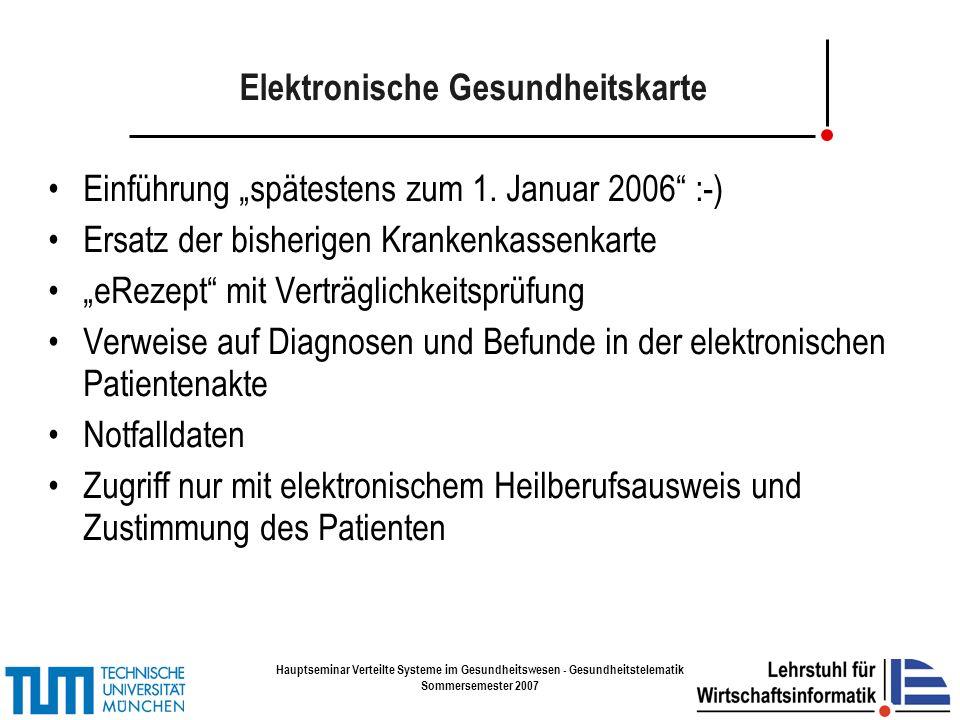 Hauptseminar Verteilte Systeme im Gesundheitswesen - Gesundheitstelematik Sommersemester 2007 Aussehen der eGK