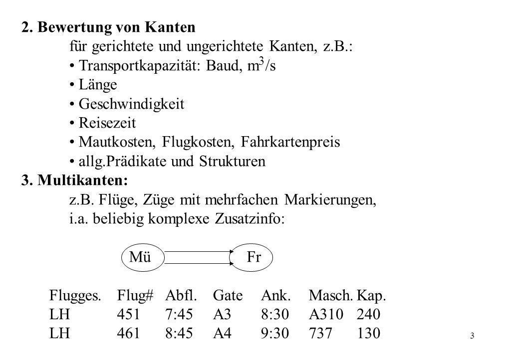 3 2. Bewertung von Kanten für gerichtete und ungerichtete Kanten, z.B.: Transportkapazität: Baud, m 3 /s Länge Geschwindigkeit Reisezeit Mautkosten, F