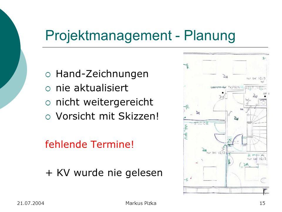 21.07.2004Markus Pizka15 Projektmanagement - Planung Hand-Zeichnungen nie aktualisiert nicht weitergereicht Vorsicht mit Skizzen.