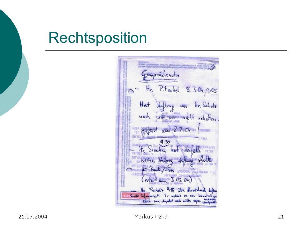 21.07.2004Markus Pizka21 Rechtsposition