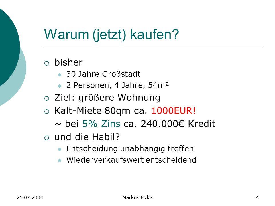 21.07.2004Markus Pizka4 Warum (jetzt) kaufen.