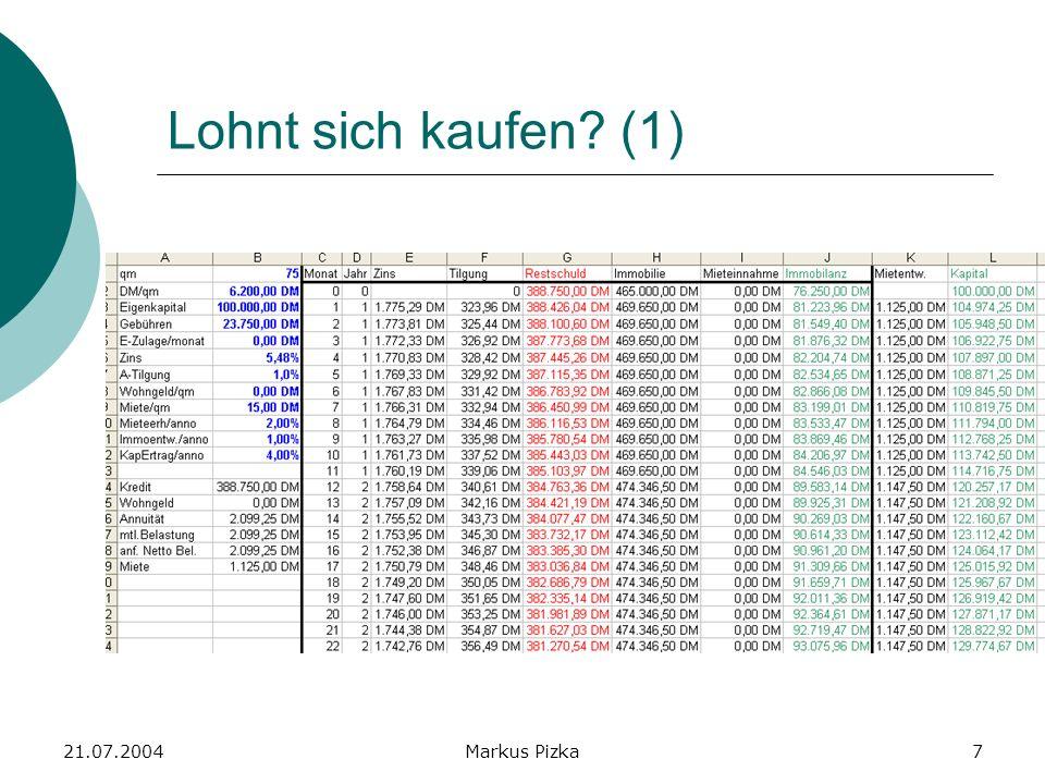 21.07.2004Markus Pizka8 Lohnt sich kaufen? (2)