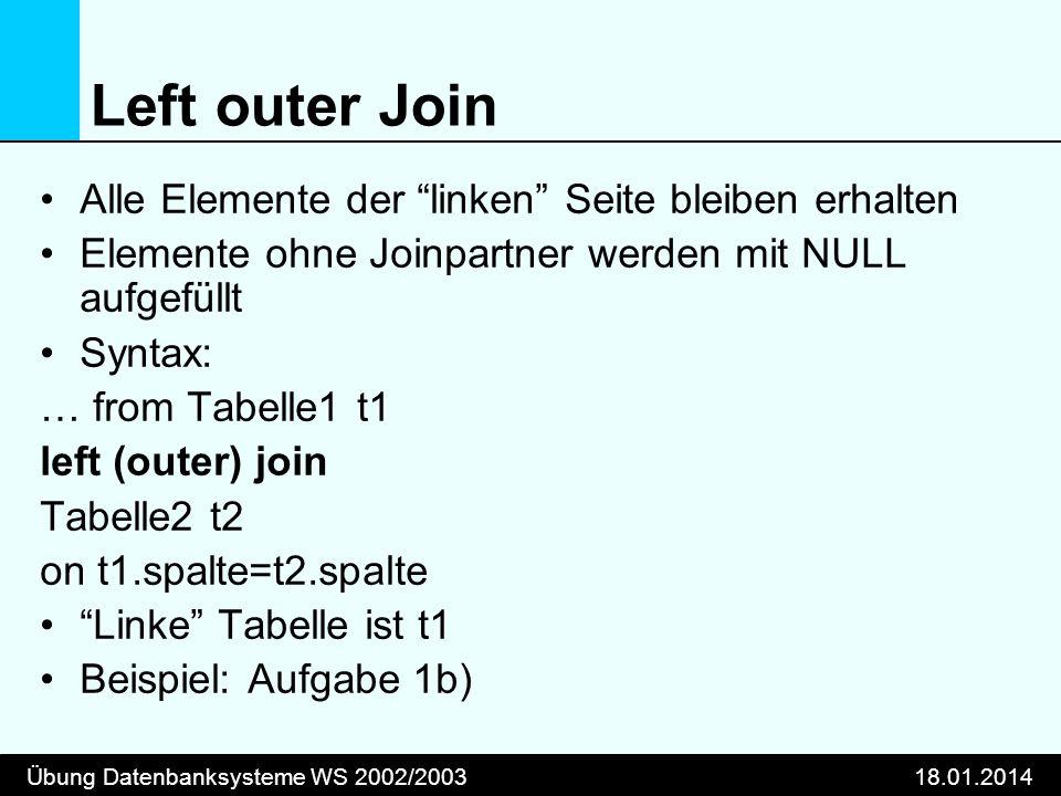 Übung Datenbanksysteme WS 2002/200318.01.2014 Left outer Join Alle Elemente der linken Seite bleiben erhalten Elemente ohne Joinpartner werden mit NUL