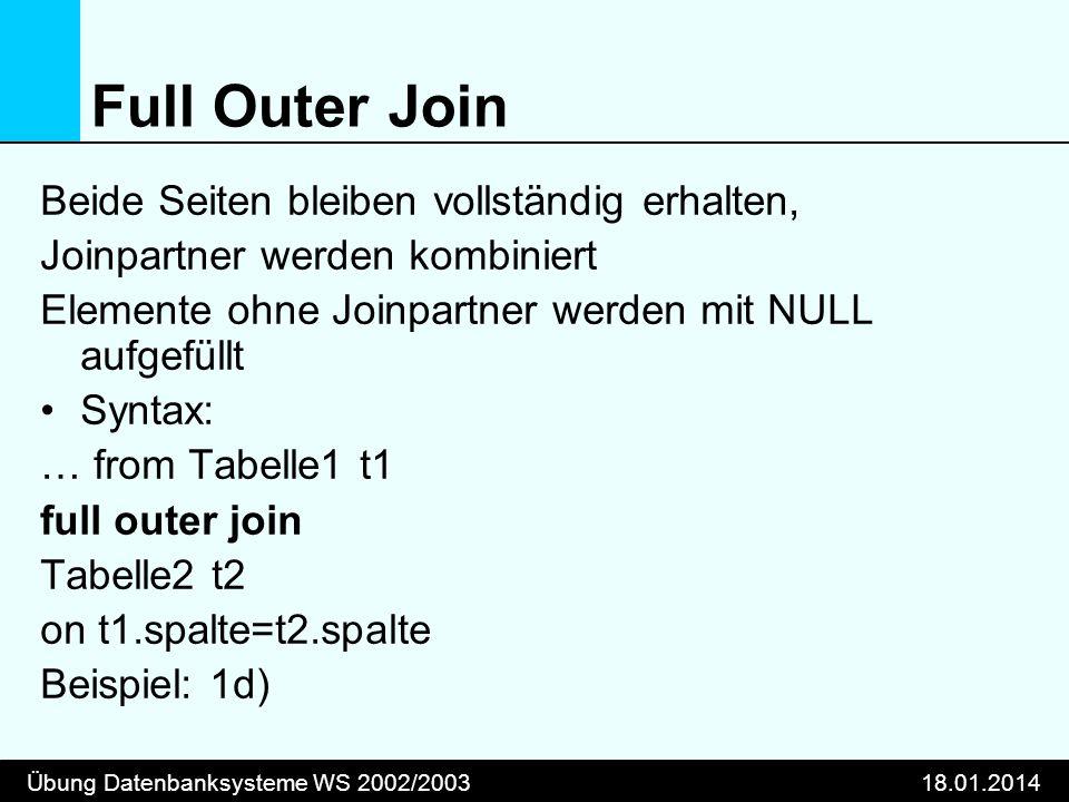 Übung Datenbanksysteme WS 2002/200318.01.2014 Full Outer Join Beide Seiten bleiben vollständig erhalten, Joinpartner werden kombiniert Elemente ohne J