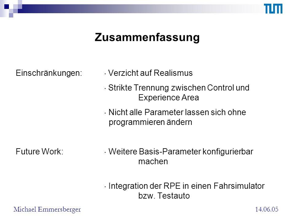 Zusammenfassung Einschränkungen: Verzicht auf Realismus Strikte Trennung zwischen Control und Experience Area Nicht alle Parameter lassen sich ohne programmieren ändern Future Work: Weitere Basis-Parameter konfigurierbar machen Integration der RPE in einen Fahrsimulator bzw.
