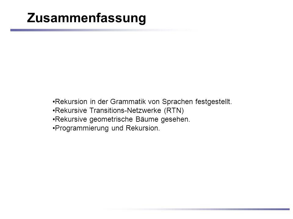 Zusammenfassung Rekursion in der Grammatik von Sprachen festgestellt.