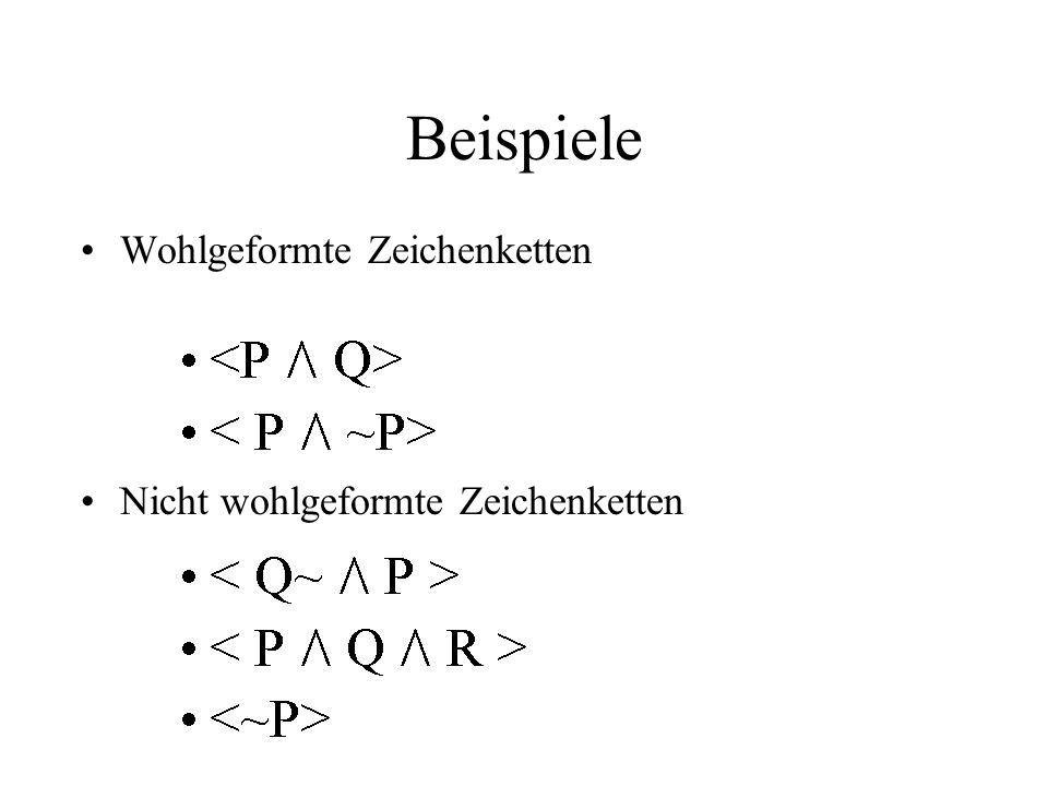 Beispiele Wohlgeformte Zeichenketten Nicht wohlgeformte Zeichenketten