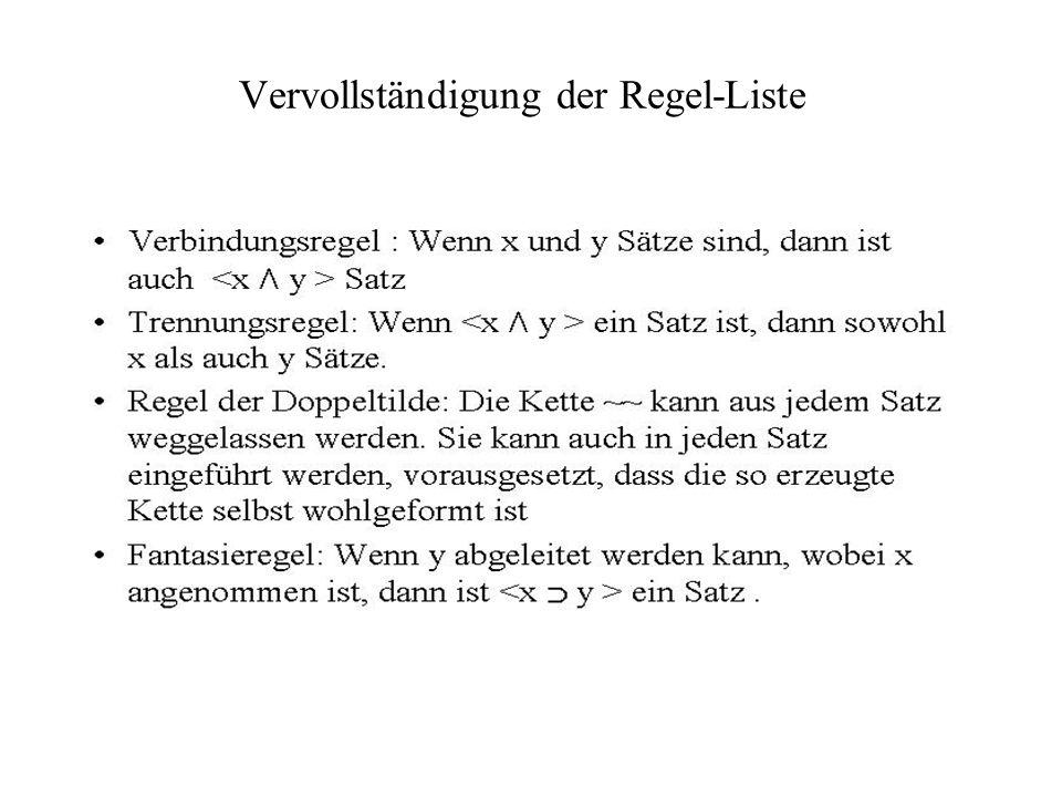 Vervollständigung der Regel-Liste