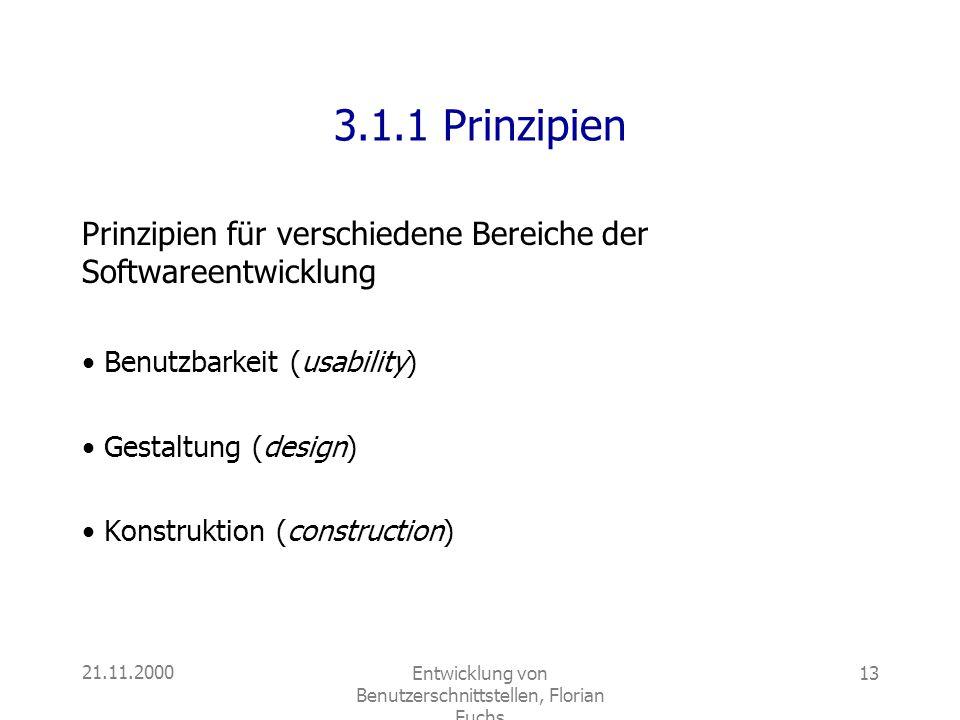 21.11.2000Entwicklung von Benutzerschnittstellen, Florian Fuchs 13 3.1.1 Prinzipien Prinzipien für verschiedene Bereiche der Softwareentwicklung Benut