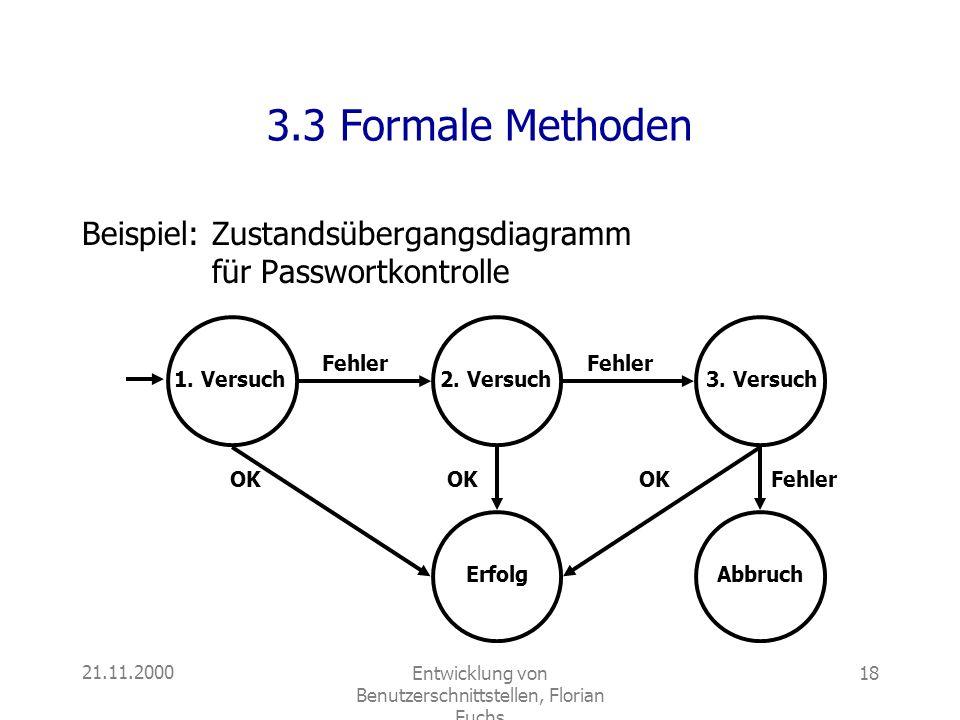 21.11.2000Entwicklung von Benutzerschnittstellen, Florian Fuchs 18 3.3 Formale Methoden Beispiel:Zustandsübergangsdiagramm für Passwortkontrolle 1. Ve