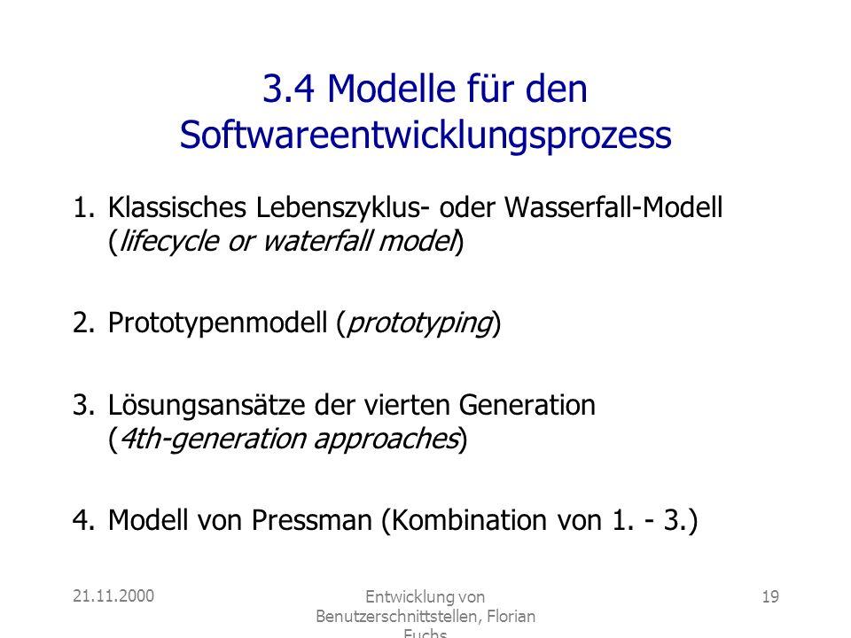 21.11.2000Entwicklung von Benutzerschnittstellen, Florian Fuchs 19 3.4 Modelle für den Softwareentwicklungsprozess 1.Klassisches Lebenszyklus- oder Wa