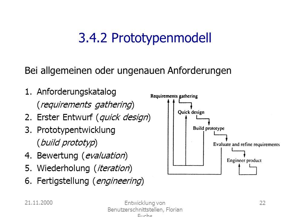 21.11.2000Entwicklung von Benutzerschnittstellen, Florian Fuchs 22 3.4.2 Prototypenmodell 1.Anforderungskatalog (requirements gathering) 2.Erster Entw