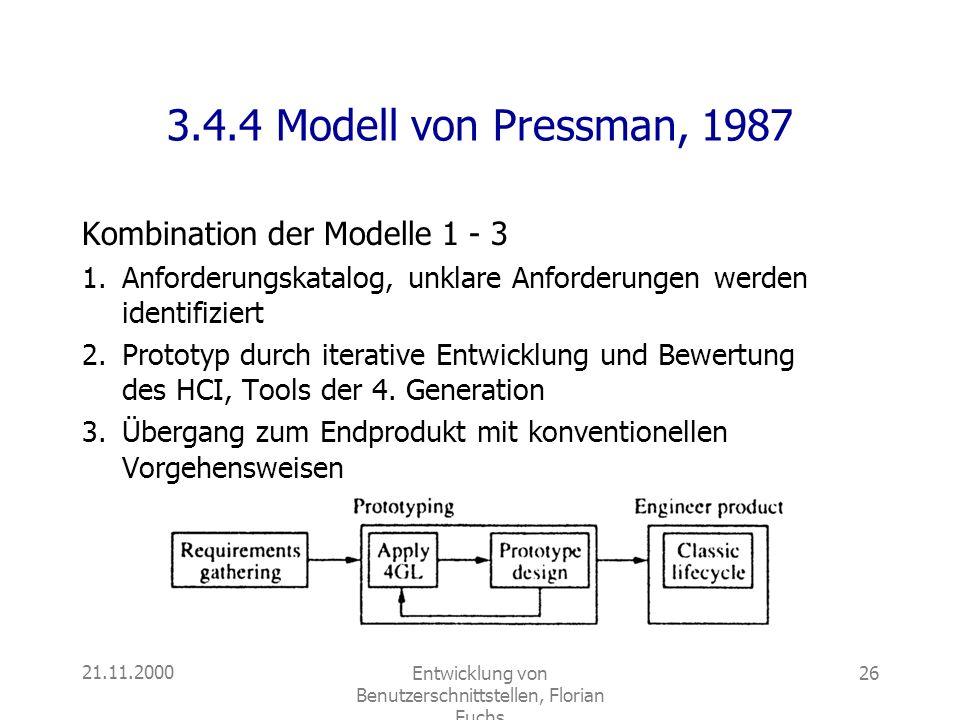 21.11.2000Entwicklung von Benutzerschnittstellen, Florian Fuchs 26 3.4.4 Modell von Pressman, 1987 Kombination der Modelle 1 - 3 1.Anforderungskatalog