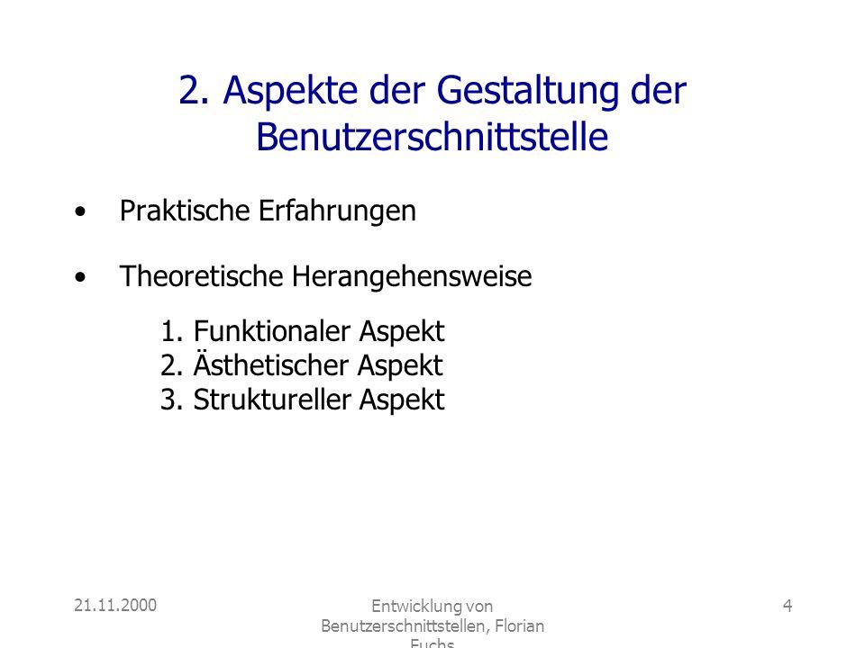 21.11.2000Entwicklung von Benutzerschnittstellen, Florian Fuchs 4 2. Aspekte der Gestaltung der Benutzerschnittstelle Praktische Erfahrungen Theoretis