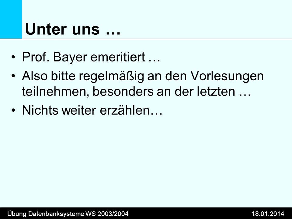 Übung Datenbanksysteme WS 2003/200418.01.2014 Unter uns … Prof.
