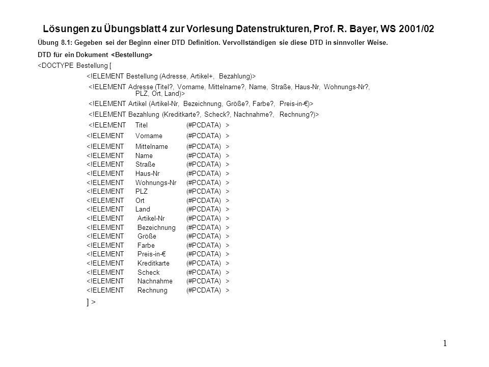 1 Lösungen zu Übungsblatt 4 zur Vorlesung Datenstrukturen, Prof.