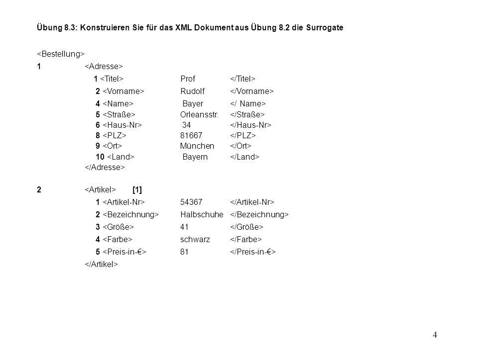 4 Übung 8.3: Konstruieren Sie für das XML Dokument aus Übung 8.2 die Surrogate 1 1 Prof 2 Rudolf 4 Bayer 5 Orleansstr.