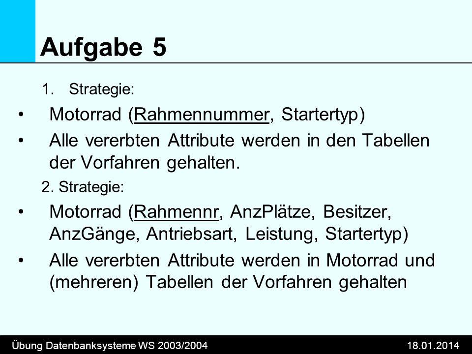 Übung Datenbanksysteme WS 2003/200418.01.2014 Aufgabe 5 1.Strategie: Motorrad (Rahmennummer, Startertyp) Alle vererbten Attribute werden in den Tabell