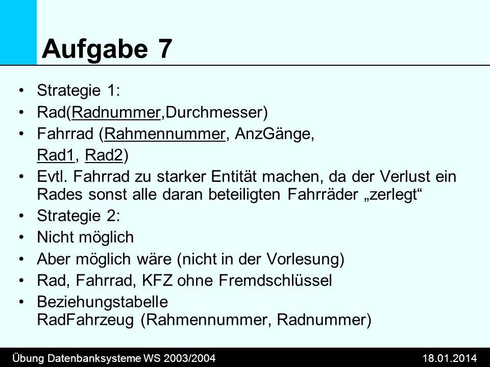 Übung Datenbanksysteme WS 2003/200418.01.2014 Aufgabe 7 Strategie 1: Rad(Radnummer,Durchmesser) Fahrrad (Rahmennummer, AnzGänge, Rad1, Rad2) Evtl. Fah