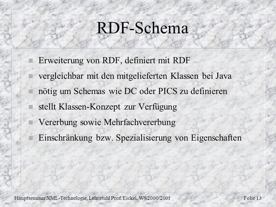Folie 13Hauptseminar XML-Technologie, Lehrstuhl Prof. Eickel, WS2000/2001 RDF-Schema n Erweiterung von RDF, definiert mit RDF n vergleichbar mit den m