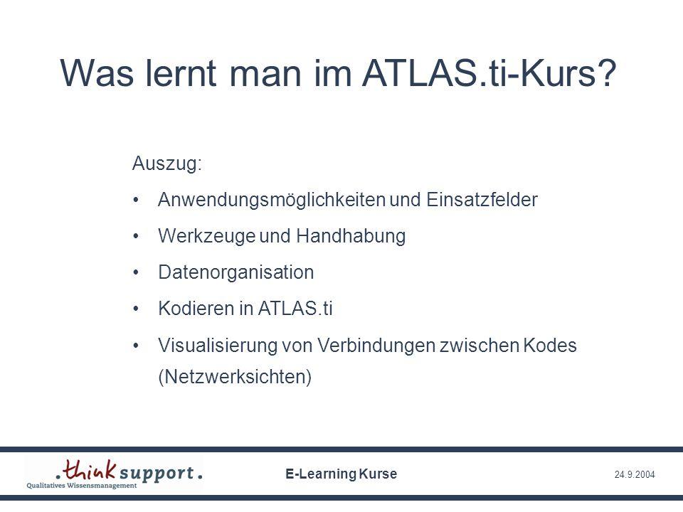 24.9.2004 Was lernt man im ATLAS.ti-Kurs? Auszug: Anwendungsmöglichkeiten und Einsatzfelder Werkzeuge und Handhabung Datenorganisation Kodieren in ATL